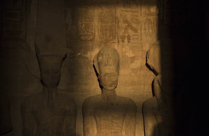 Sunbeams light up the statues of King Rameses II at Abu Simbel temples in Aswan, Egypt on Feb. 22, 2017. (AA Photo)