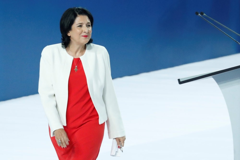 Salome Zurabishvili, the French-born presidential candidate, attends the final pre-election rally, Tbilisi, Oct. 25.