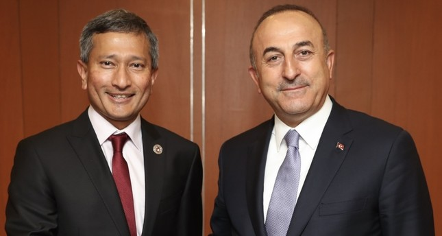 Foreign Minister Mevlüt Çavuşoğlu (R) had a meeting with the foreign ministers of several Asian countries, including Foreign Minister of Singapore Vivian Balakrishnan (L), during the Association of Southeast Asian Nations (ASEAN).