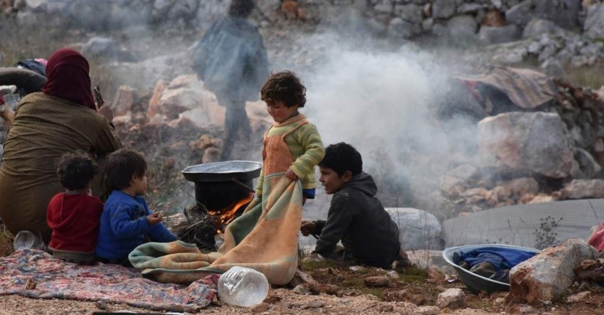 Many civilians who fled the attacks of the Assad regime and Russia live under grave conditions in a camp in Sarmada district, Syria ( Muhammed Abdullah - Anadolu Ajans?)