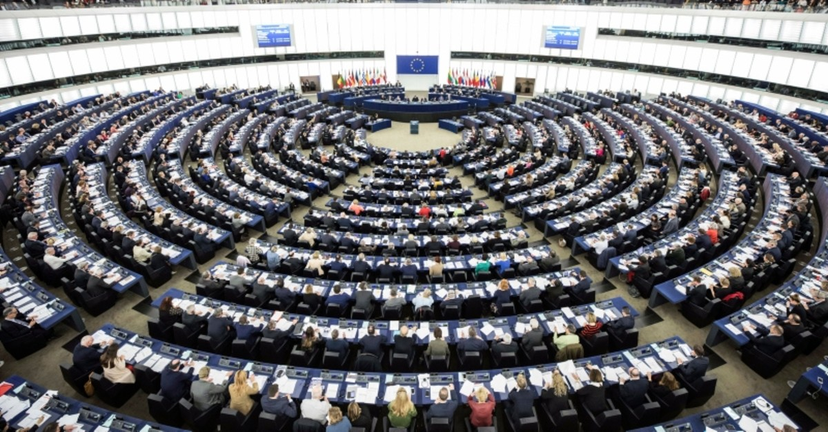 General view of the European Parliament during a plenary session in Strasbourg, eastern France, Wednesday, March 13, 2019. (AP Photo)