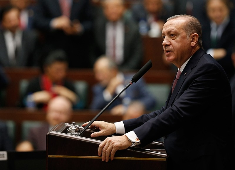 President Recep Tayyip Erdou011fan addresses members of the AK Party at the weekly parliamentary group meeting in Ankara, Feb. 20, 2018 (AA Photo)