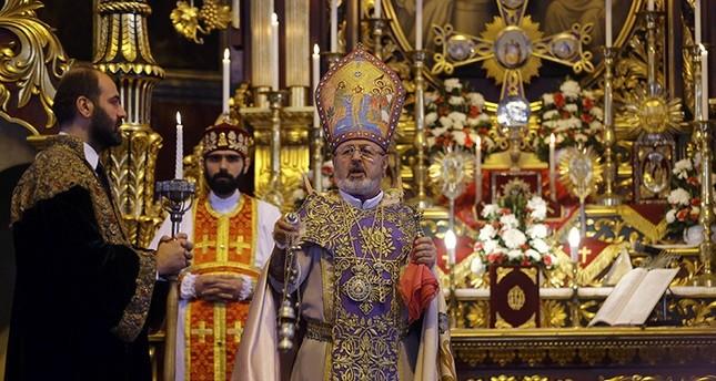 Archbishop Aram Ateşyan (C) holds a mass at Surp Asdvadzadzin Patriarchal Church in Istanbul