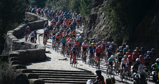 Cyclists rode through Köprülü Canyon of Antalya in the first stage, Feb. 21, 2019.