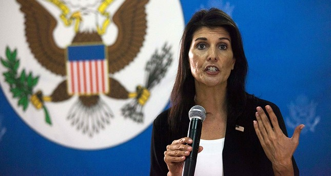 U.S. Ambassador to the United Nations, Nikki Haley talks to staff members of the U.S. embassy in Juba, South Sudan, on October 25, 2017. (AFP Photo)