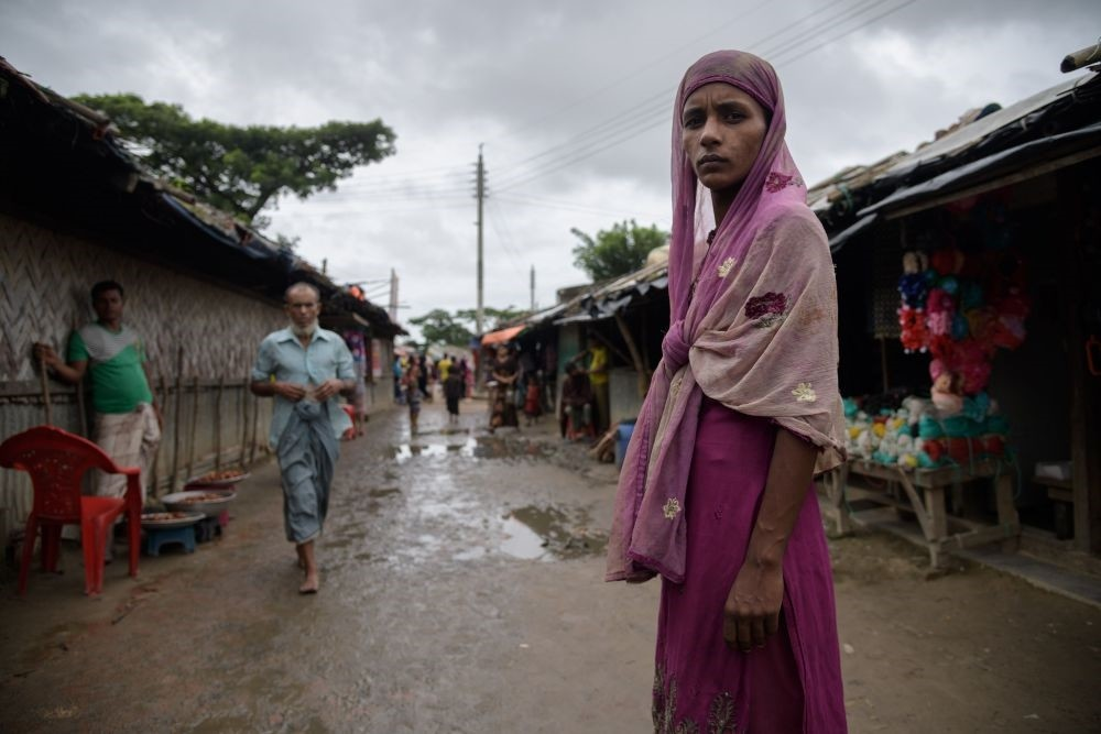A Rohingya refugee stands on a path in the Nayapara refugee camp near Cox's Bazar, Aug. 13.