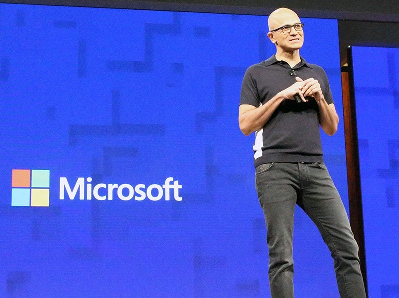 Microsoft chief executive Satya Nadella opens the US technology titan's annual Build Conference in Seattle on May 10, 2017 with a focus on a future rich with artificial intelligence that follows people from device to device. (AFP Photo)