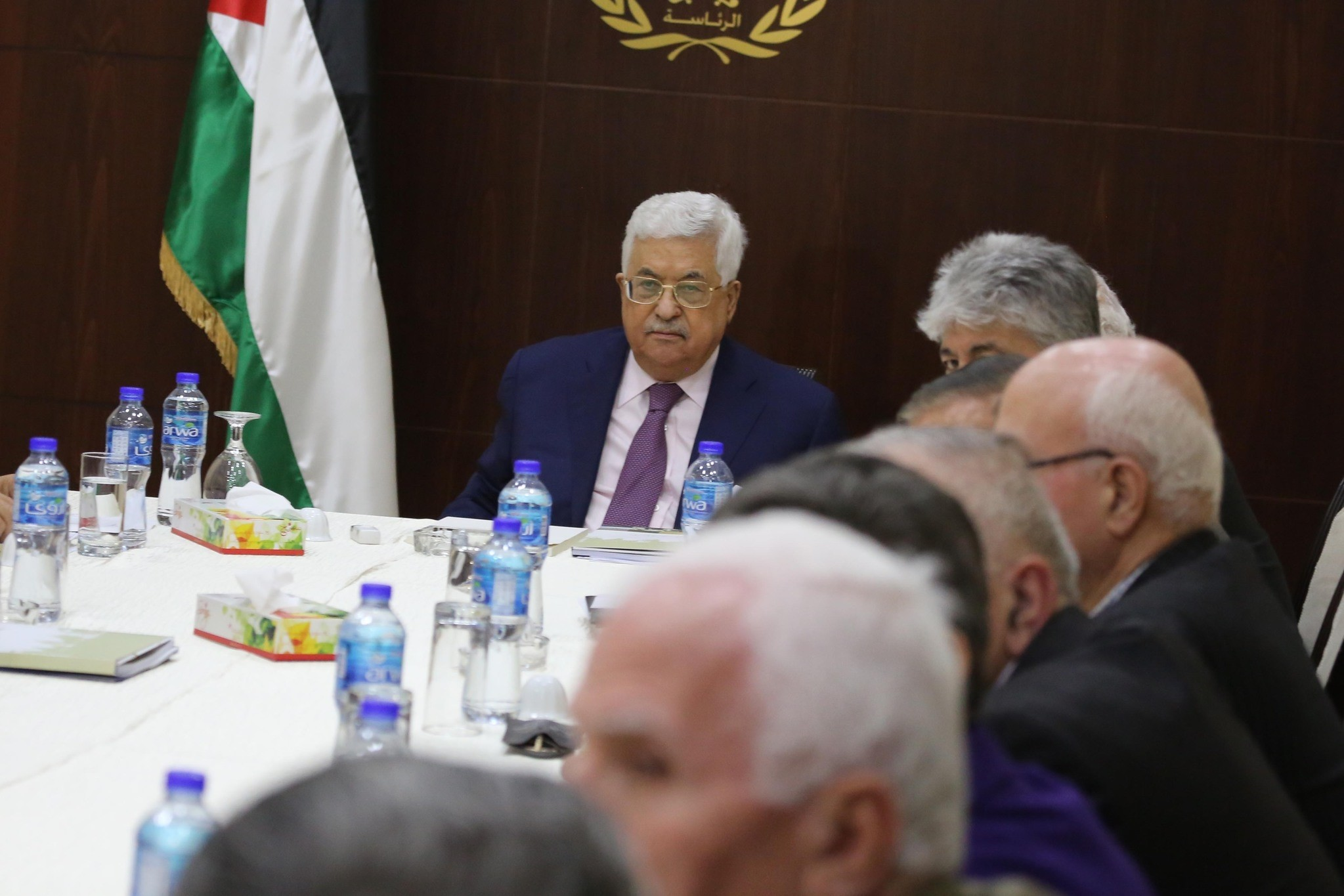 Palestinian President Mahmoud Abbas attends the Palestine Liberation Organization (PLO) Executive Committe meeting at the Presidential residency in West Bank, Palestine. (AA Photo)