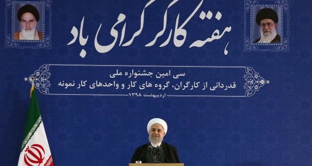 Iran's Rouhani speaks during a ceremony marking national Workers' Week in Tehran (Iranian Presidency Handout via Reuters)