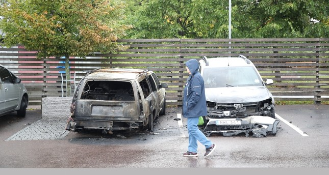 Dozens of cars were set on fire at Frolunda Square, Gothenburg, Aug. 13.