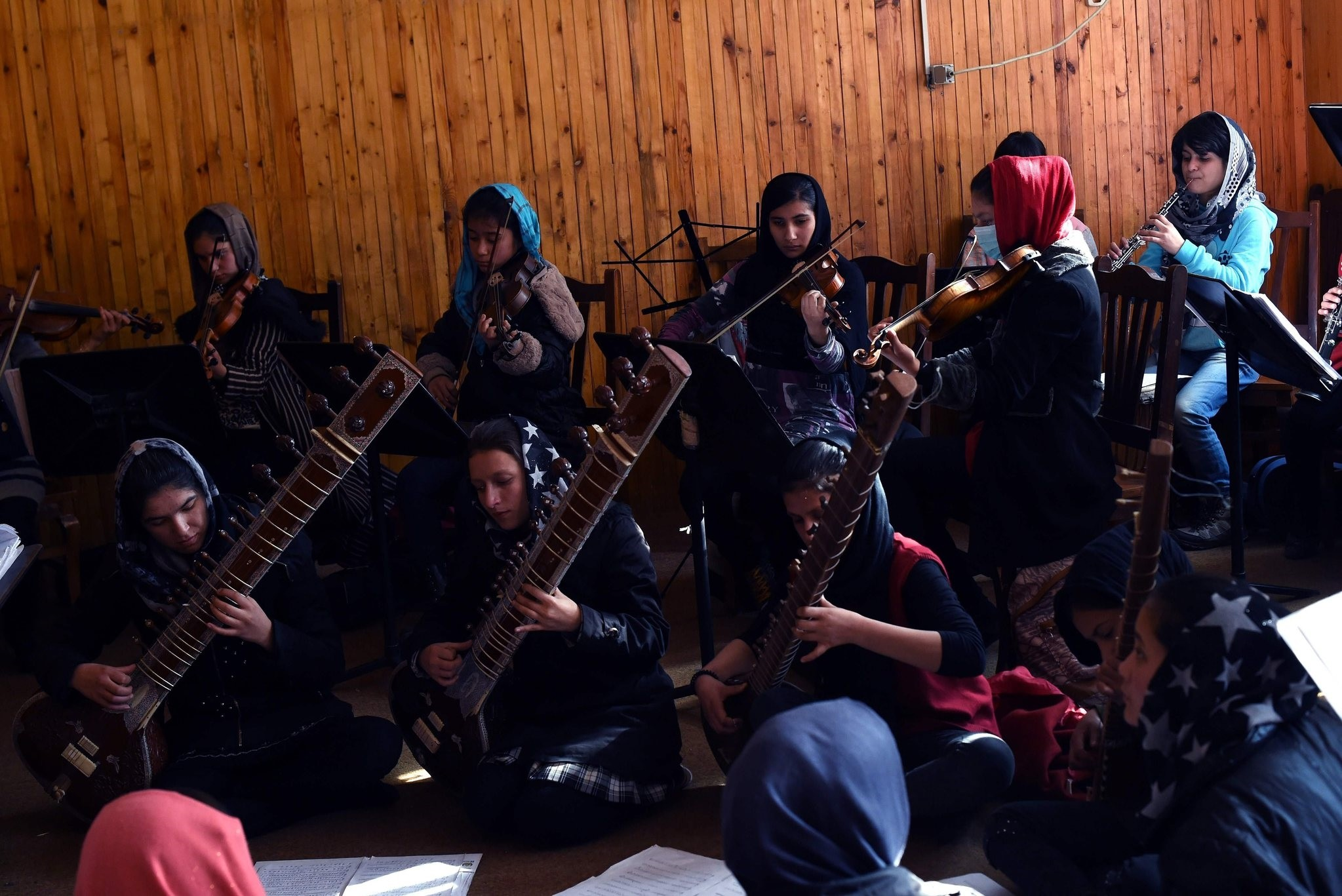 Afghan music students rehearse at The Afghanistan National Institute of Music in Kabul.