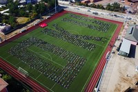 Around 2,000 students came together at a stadium in Turkey's southeastern province of Batman to read books to show