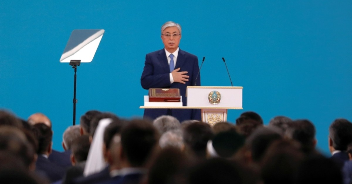 Kazakhstan's President Kassym-Jomart Tokayev takes the oath during his inauguration ceremony in Nur-Sultan, Kazakhstan June 12, 2019. (Reuters Photo)