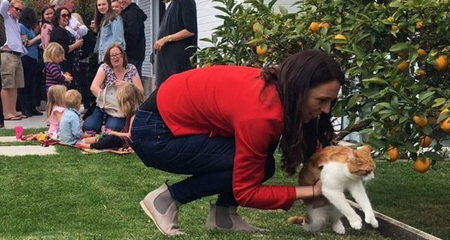 New Zealand Prime Minister Jacinda Ardern picks up Paddles, the country's first cat Photo via Twitter @FirstCatofNZ
