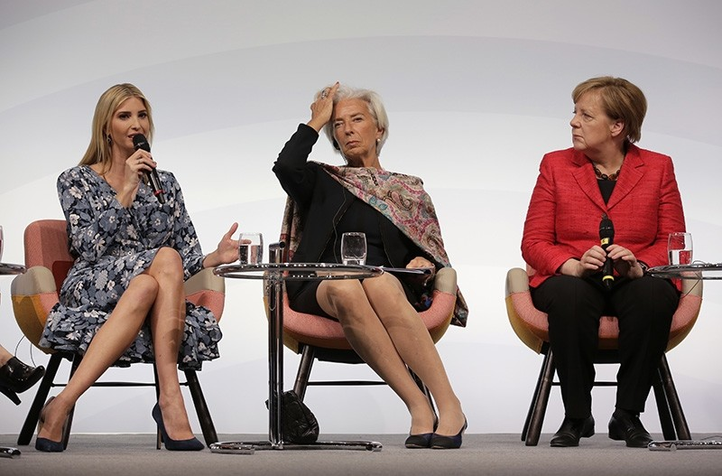 Ivanka Trump, daughter and adviser of U.S. President Donald Trump, International Monetary Fund Managing Director Christine Lagarde and German Chancellor Angela Merkel, from left, attend a panel at the W20 Summit in Berlin, April 25, 2017 (AP Photo)