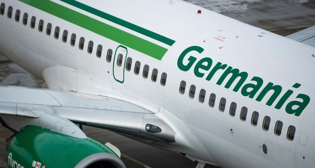 An aircraft of German Germania airline is parked at the airport of Dresden, Germany, Tuesday, Feb.5, 2019 (AP Photo)