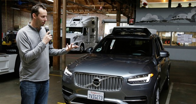 In this Dec. 13, 2016, file photo, Anthony Levandowski, head of Uber's self-driving program, speaks about their driverless car in San Francisco. AP Photo