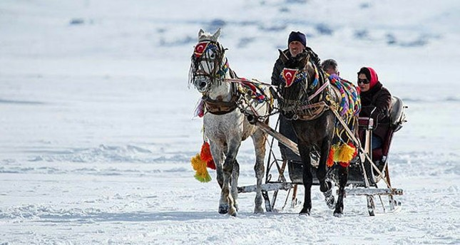Local and foreign visitors who make their way to Kars with the Doğu Ekspres experience riding on the troikas on frozen Lake Çıldır.