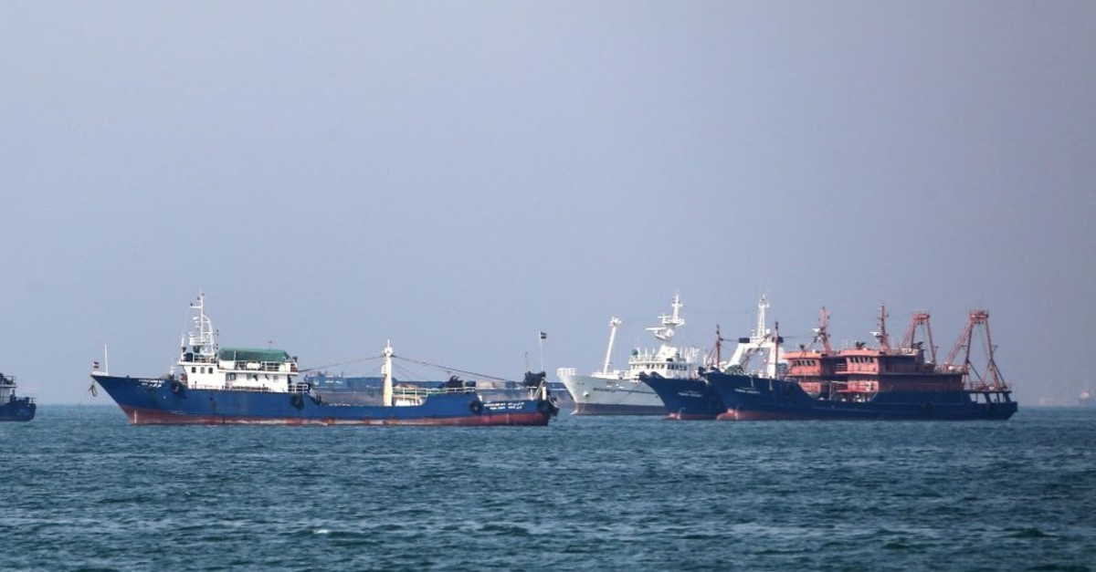 Cargo ships sail in the Gulf off the Iranian port city of Bandar Abbas, which is the main base of Iranu2019s navy and has a strategic position on the Strait of Hormuz, April 29, 2019.