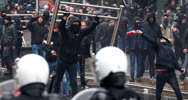Far-right extremists during a protest in Brussels, Dec. 16, 2018.