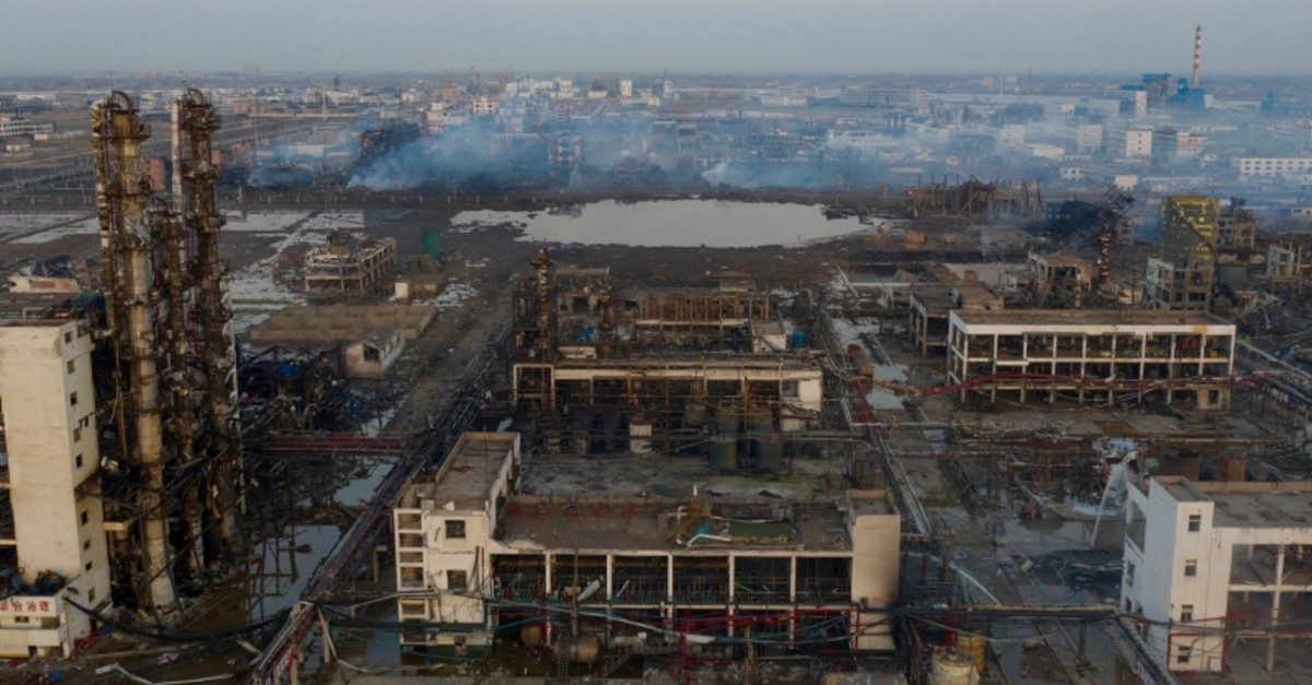 Damaged buildings are seen on the site following an explosion at a pesticide plant owned by Tianjiayi Chemical, in Xiangshui county, Yancheng, Jiangsu province, China, March 23, 2019. (Caixin Media via Reuters)