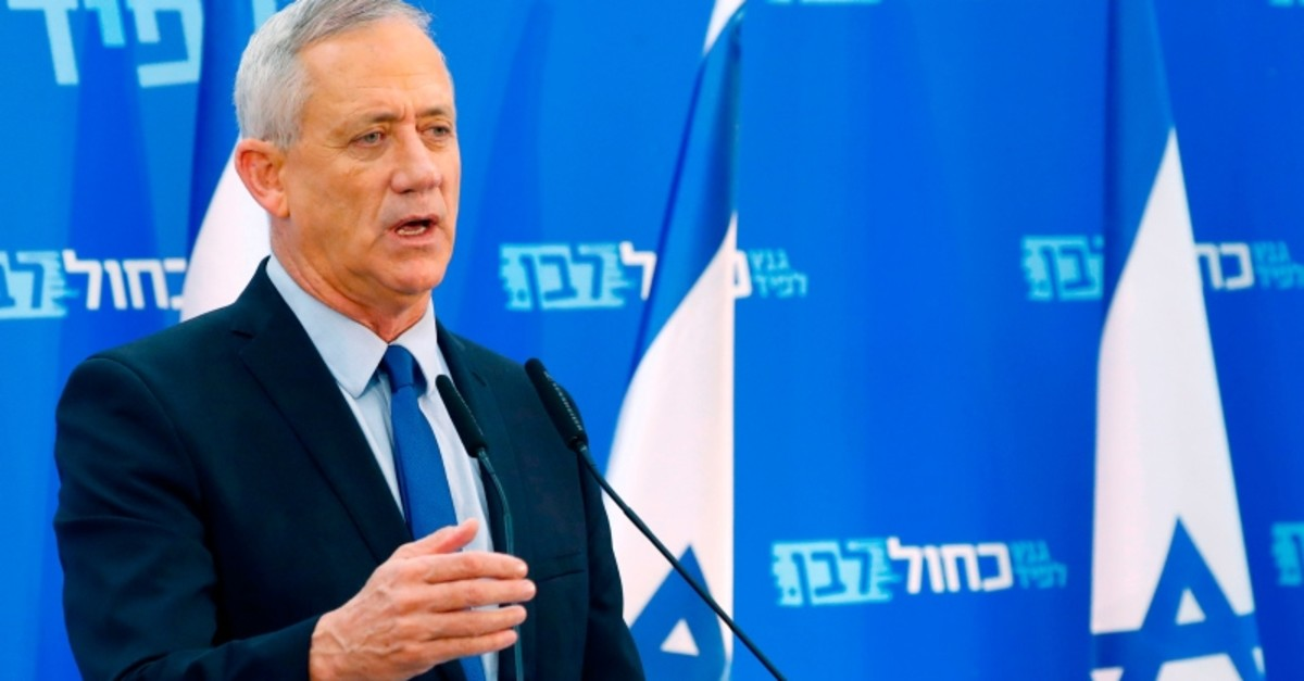 Retired Israeli general Benny Gantz, one of the leaders of the Blue and White (Kahol Lavan) political alliance, addresses members of his party in Tel Aviv, Israel, March 20, 2019. (AFP Photo)