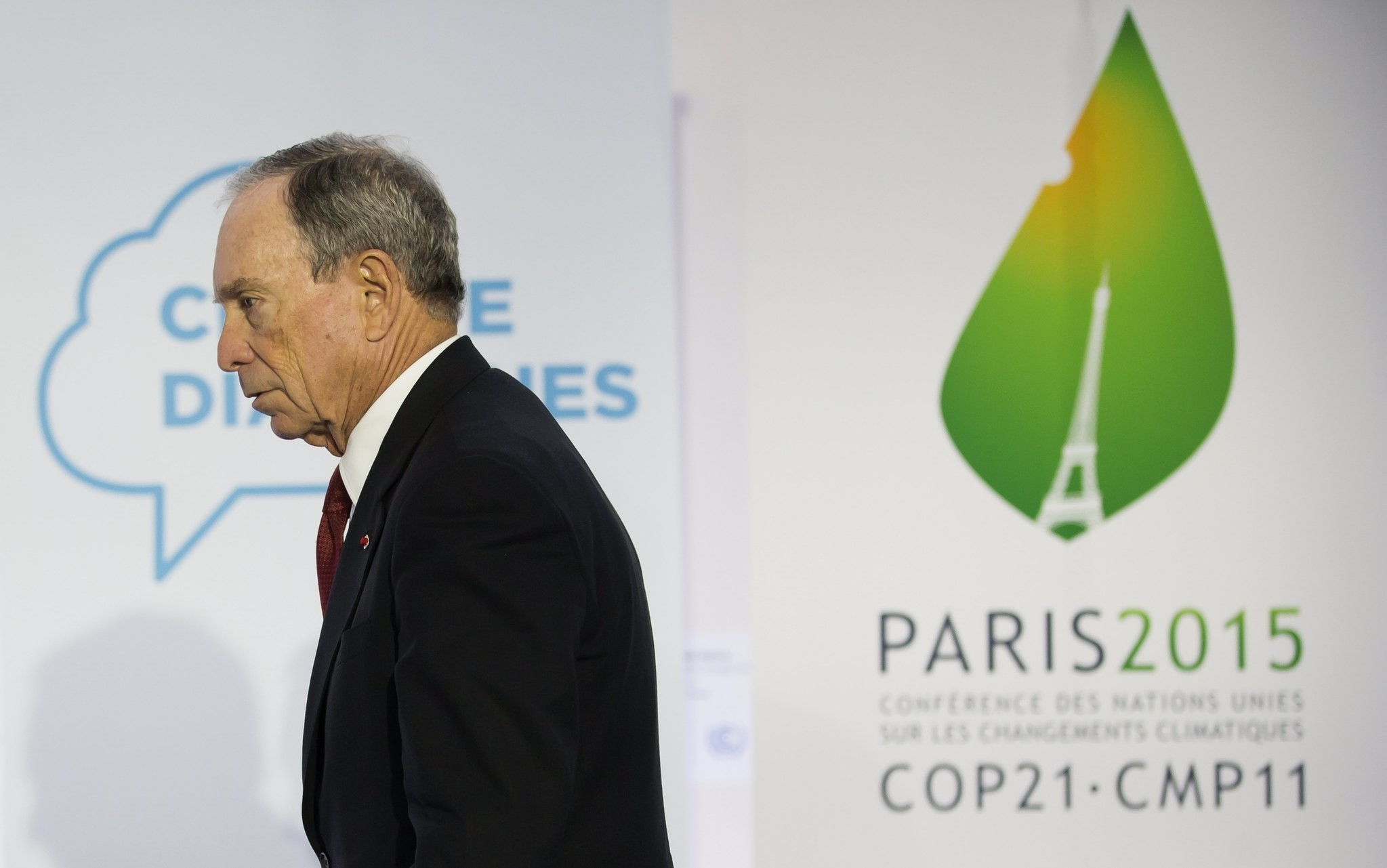 Former mayor of New York City Michael Bloomberg attends a news conference at the COP21 World Climate Change Conference 2015 in Paris.