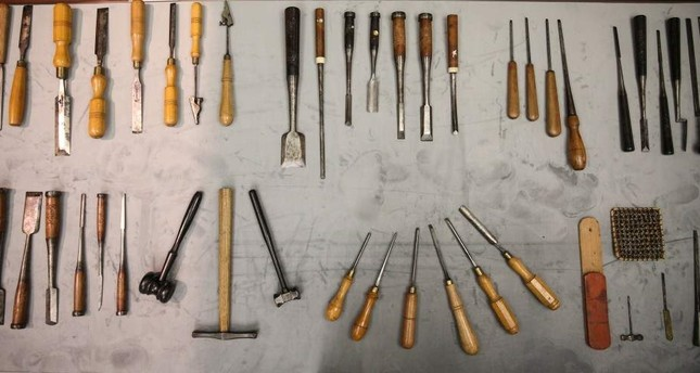 The personal carpentry sets of the sultan comprise of tools of different sizes and types. AA Photo