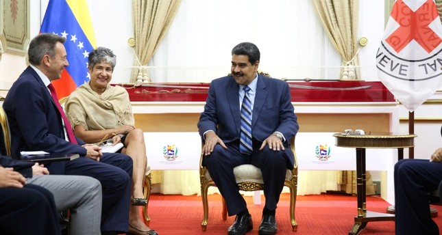 Venezuela's President Nicolas Maduro and Peter Maurer, president of the International Committee of the Red Cross ICRC, talk during their meeting at Miraflores Palace in Caracas, Venezuela April 9, 2019. Reuters Photo