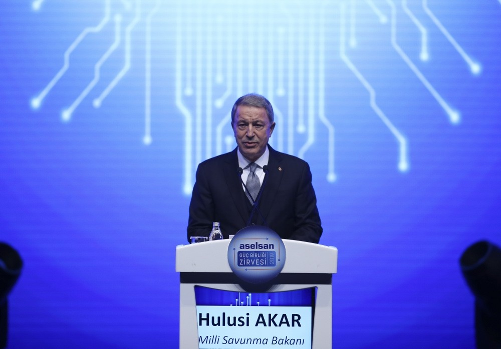 National Defense Minister Hulusi Akar speaks at a panel organized by Turkey's leading state-owned defense company ASELSAN, Feb. 5, 2019.