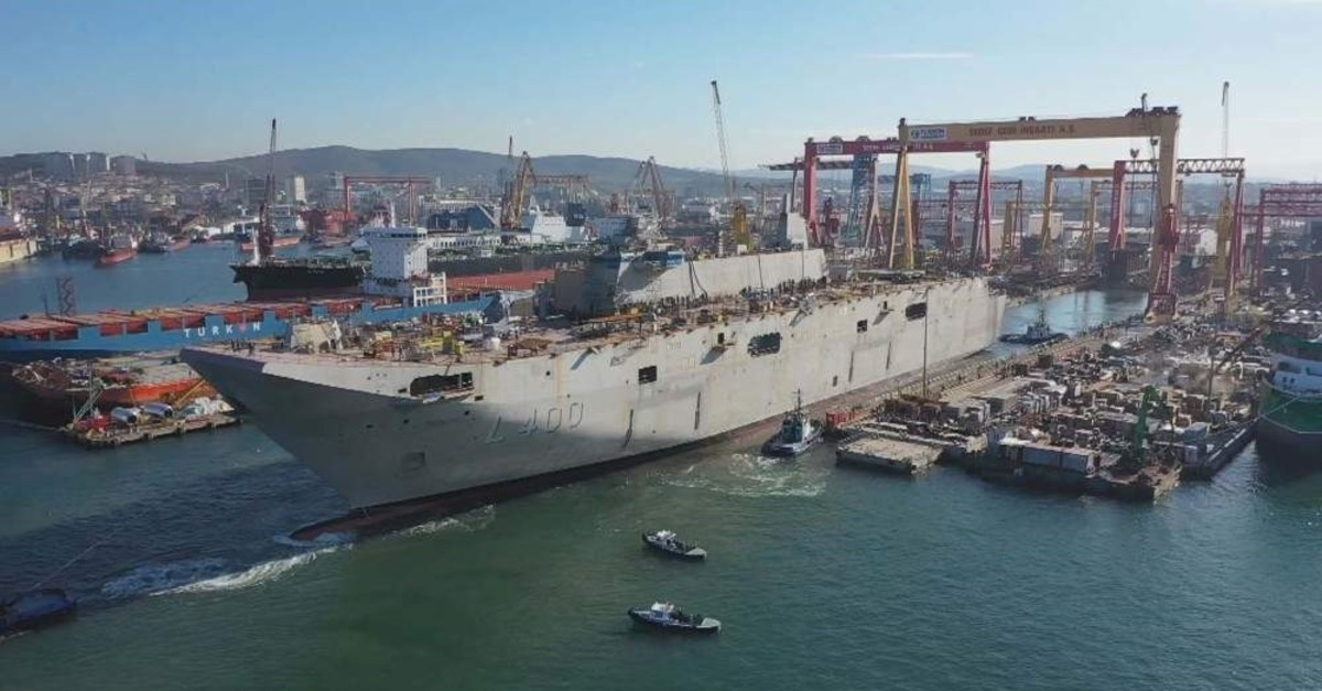 Turkey's largest-ever warship TCG Anadolu is ready for harbor tests at an Istanbul shipyard. (DHA Photo)