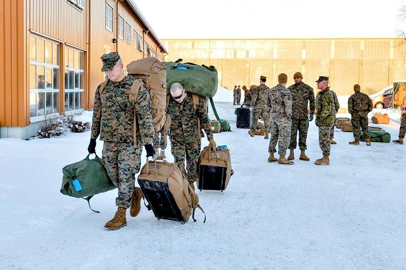 U.S. Marines, who are to attend a six-month training to learn about winter warfare, arrive in Stjordal, Norway January 16, 2017. (Reuters Photo)