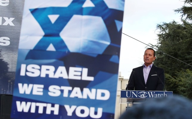 Richard Grenell, U.S. Ambassador to Germany attends the Rally for Equal Rights at the United Nations (Protesting Anti-Israeli Bias) aside of the Human Rights Council at the United Nations in Geneva, Switzerland, March 18, 2019. (Reuters Photo)