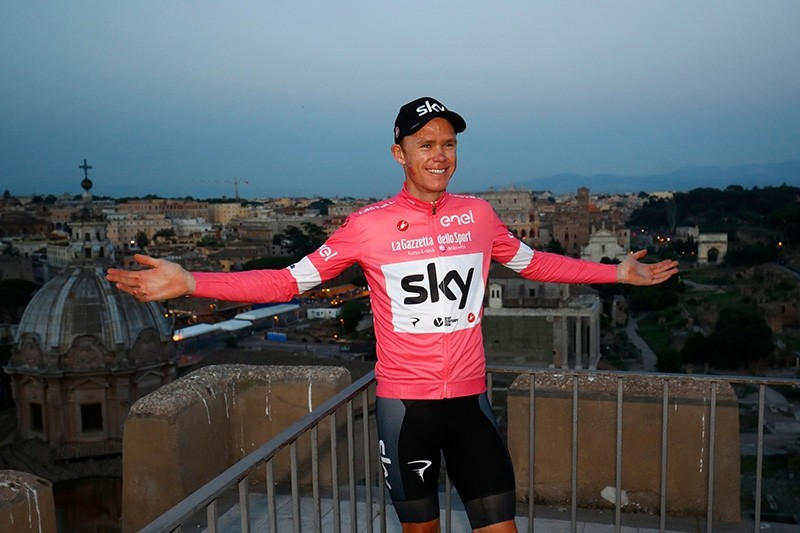 In this file photo taken May 27, 2018, winner Britain's rider of team Sky Christopher Froome poses after the 21st and last stage of the 101st Giro d'Italia, Tour of Italy cycling race, in Rome. (AFP Photo)
