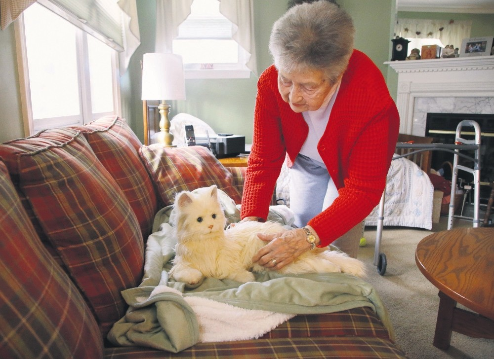 Mary Derr, 93, picks up her robot cat she calls Buddy in her home she shares with her daughter Jeanne Elliott in South Kingstown, R.I. Buddy is a Hasbrou2019s u201cJoy for Allu201d robotic cat, aimed at seniors and meant to act as a companion.