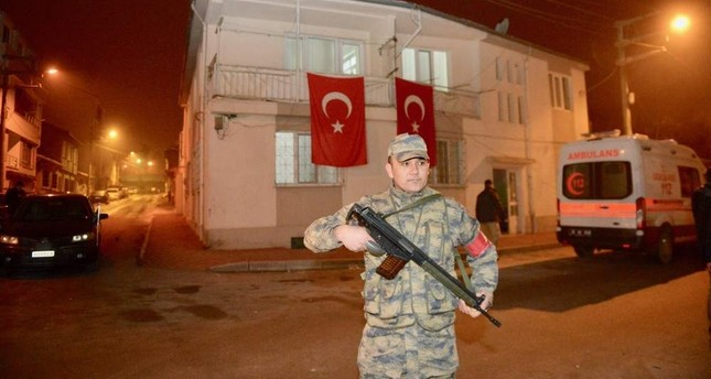 The family of one of the fallen soldiers hung Turkish flags on their home after receiving the news. AA Photo