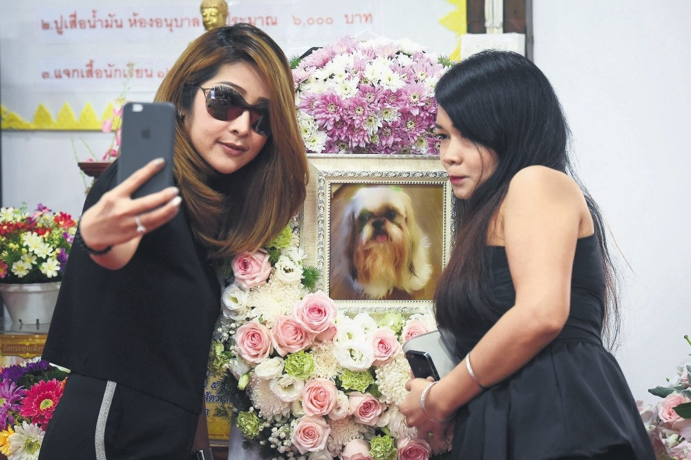 Pimrachaya Worakijmanotham (L) and her friend take a selfie with a photo of Dollar, her six-year-old Shih Tzu, during the pet's funeral.