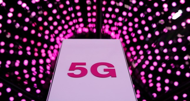 A 5G antenna at the Deutsche Telekom stand on the first day of the Mobile World Congress, Barcelona.