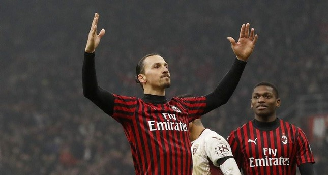 Ibrahimovic celebrates after scoring his side's fourth goal during a match against Torino in Milan, Jan. 28, 2020. AP Photo