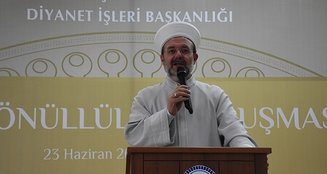 Head of Turkey's Presidency of Religious Affairs (DİB), Mehmet Görmez, addresses the audience at Religious Volunteers Meeting in Sarajevo, Bosnia and Herzegovina, June 29, 2017. (AA Photo)