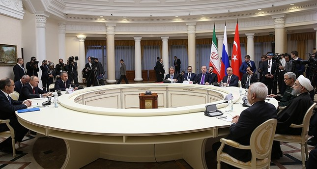 Turkish, Russian and Iranian delegations attending Syria talks in this undated file photo (AA Photo)
