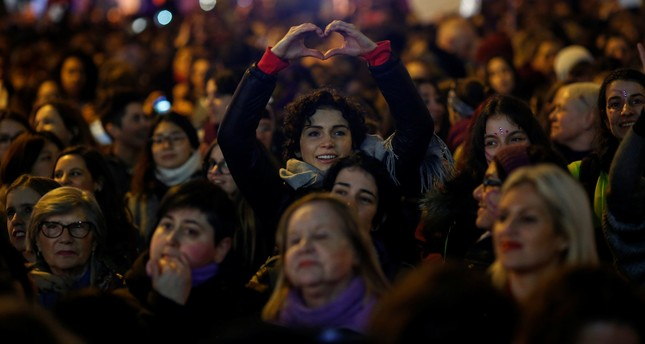 Protesters take part in a demonstration during a nationwide feminist strike on International Women's Day in Madrid, Spain, March 8, 2018.