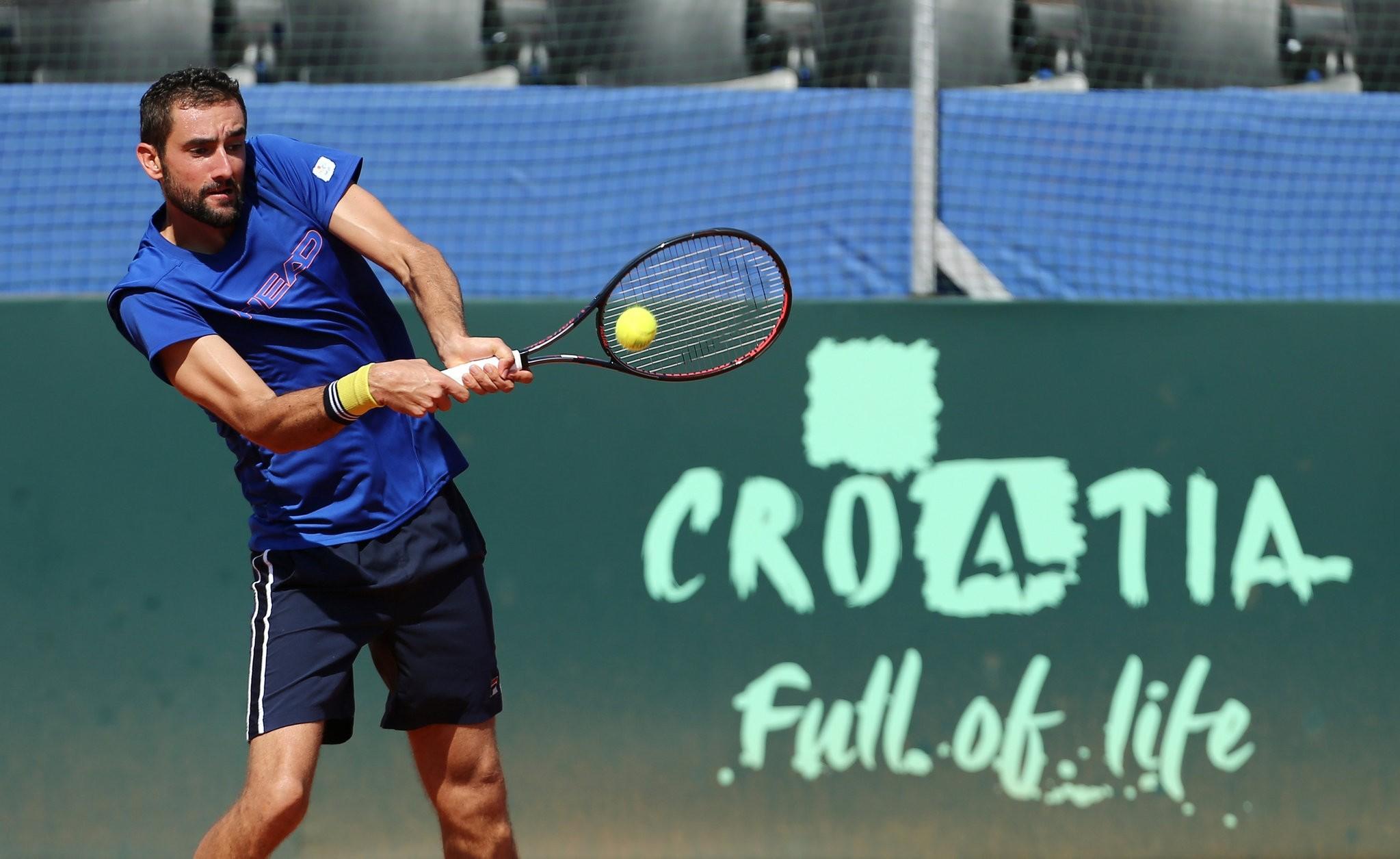 Croatiau2019s Marin Cilic during training.