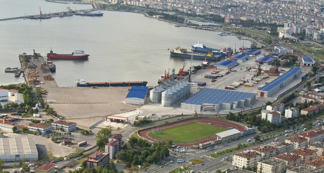 An aerial view of Samsun Port which resumed exporting Turkish goods to Russia in October 2016 after ties between Turkey and Russia started to normalize.