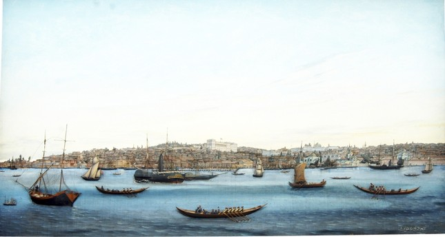 "Mıgırdiç Melkon, 19th century ""The Coastline from Tophane to Galata,"" 1884 Wood and oil on canvas 60 x 93 x 7 cm / Naval Museum Collection"