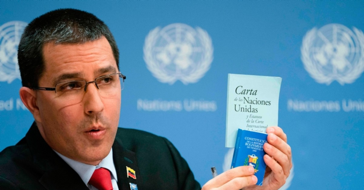 Jorge Arreaza, Minister of the People's Power for Foreign Affairs of the Bolivarian Republic of Venezuela speaks at a news conference at the United Nations in New York on April 25, 2019 (AFP Photo)