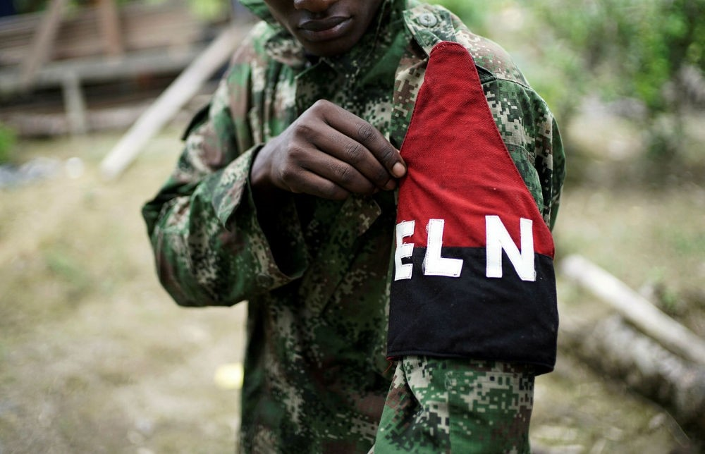 A Colombian Marxist National Liberation Army (ELN) rebel shows his armband in the northwestern jungles, Aug. 31.