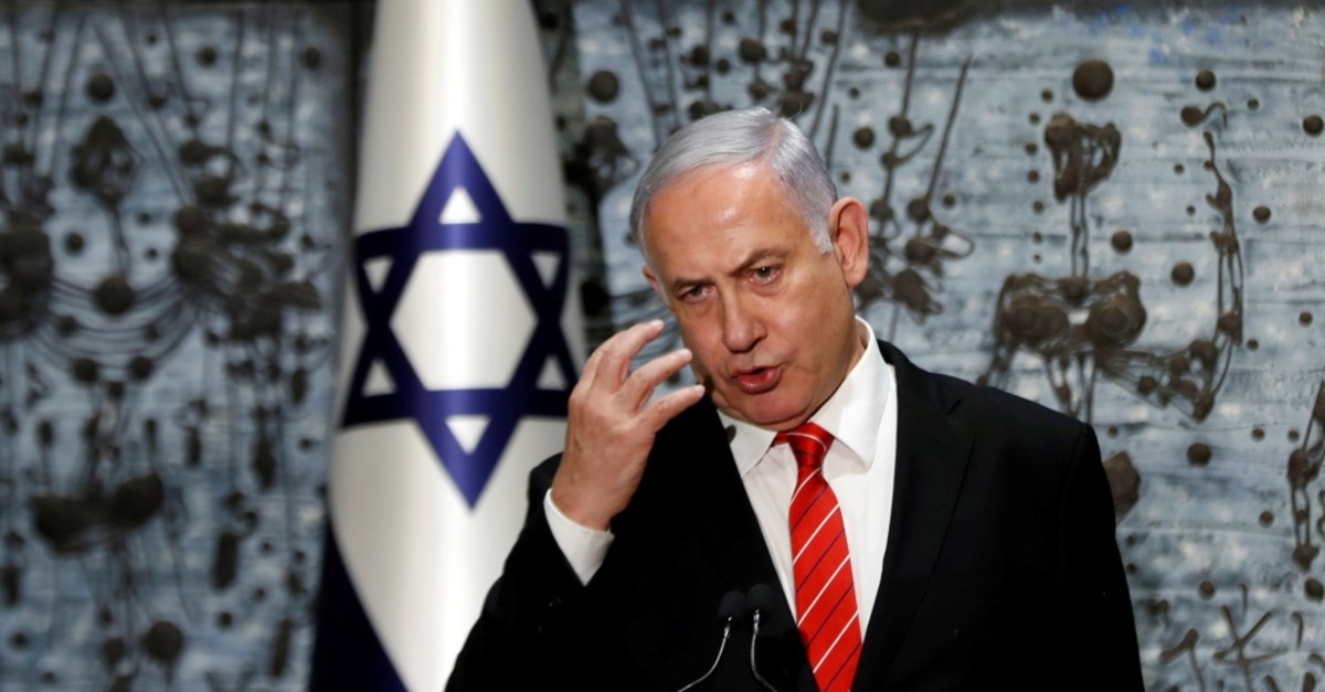 Israeli Prime Minister Benjamin Netanyahu speaks during a nomination ceremony at the President's house, Jerusalem, Sept. 25, 2019.