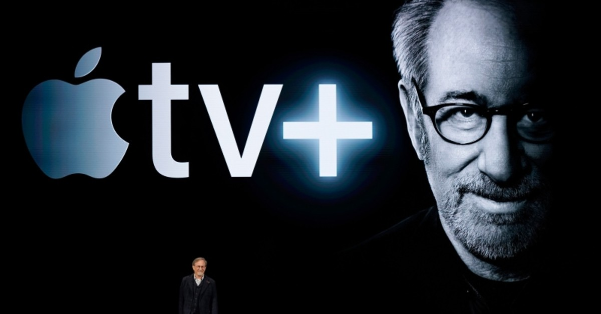 Director Steven Spielberg speaks at the Steve Jobs Theater during an event to announce new Apple products Monday, March 25, 2019, in Cupertino, Calif. (AP Photo)