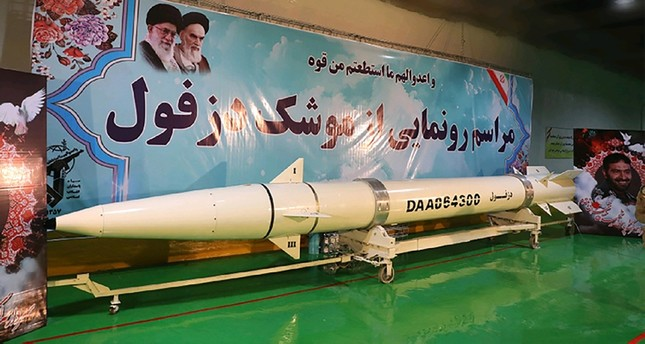 This handout photo provided by Iran's Revolutionary Guard Corps (IRGC) official website via SEPAH News on February 7, 2019 shows the new Dezful missile during its inauguration ceremony at an undisclosed location (AFP Photo)